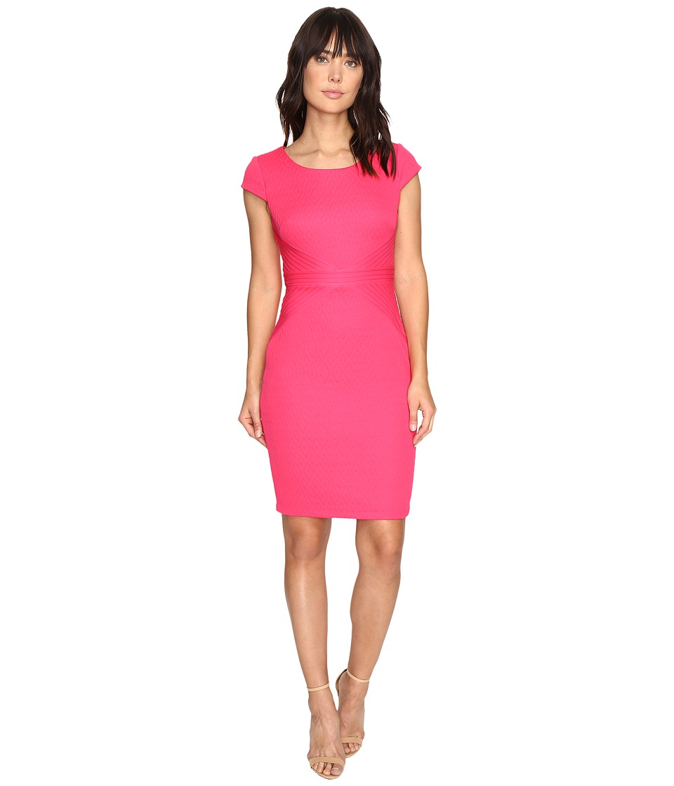 Sangria - Textured Sheath Dress (Fuchsia Rose) Women's Dress