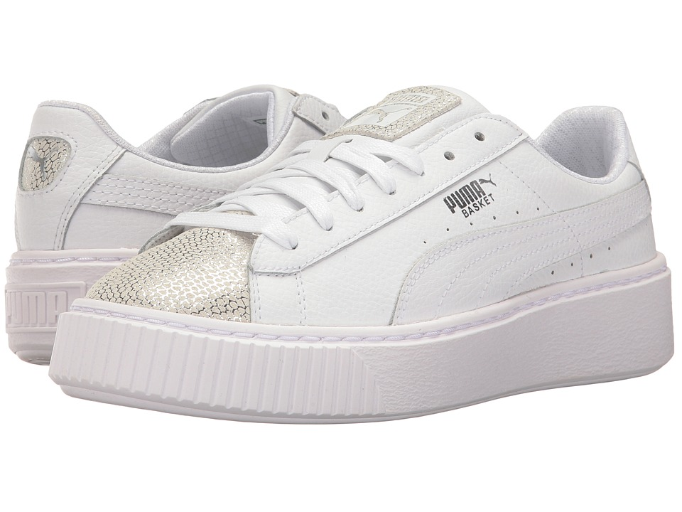 Puma Kids Basket Platform Glitz (Big Kid) (PUMA White) Girls Shoes