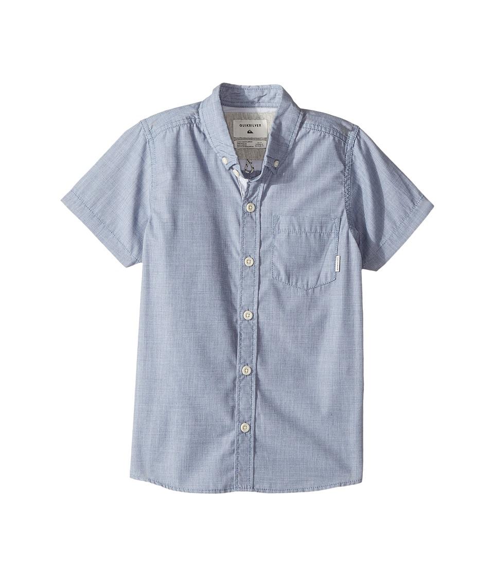 Quiksilver Kids - Everyday Wilsden Short Sleeve Shirt (Toddler/Little Kids) (Dark Denim) Boy's Short Sleeve Button Up