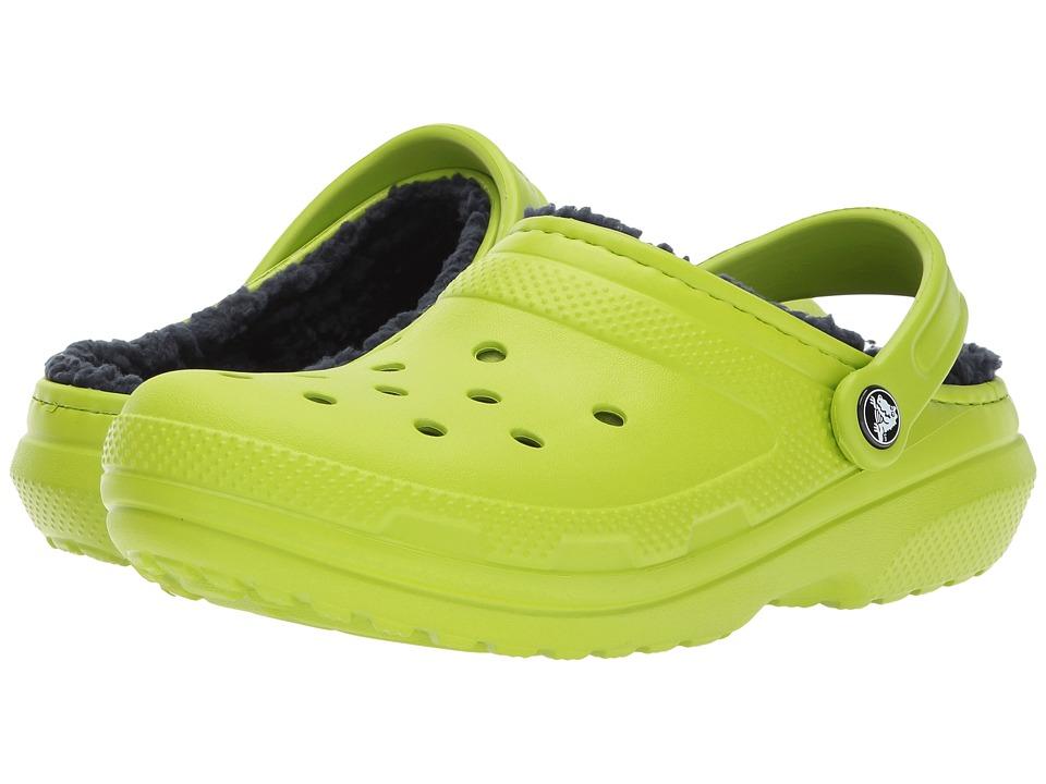 Crocs Classic Lined Clog (Volt Green/Navy) Clog Shoes