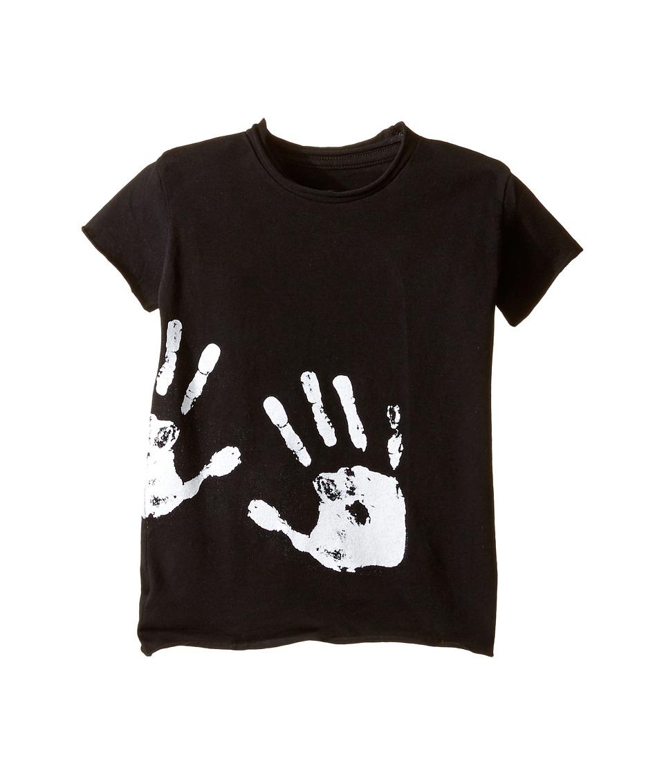 Nununu - Hand Print Raw T-Shirt (Infant/Toddler/Little Kids) (Black) Kid's T Shirt
