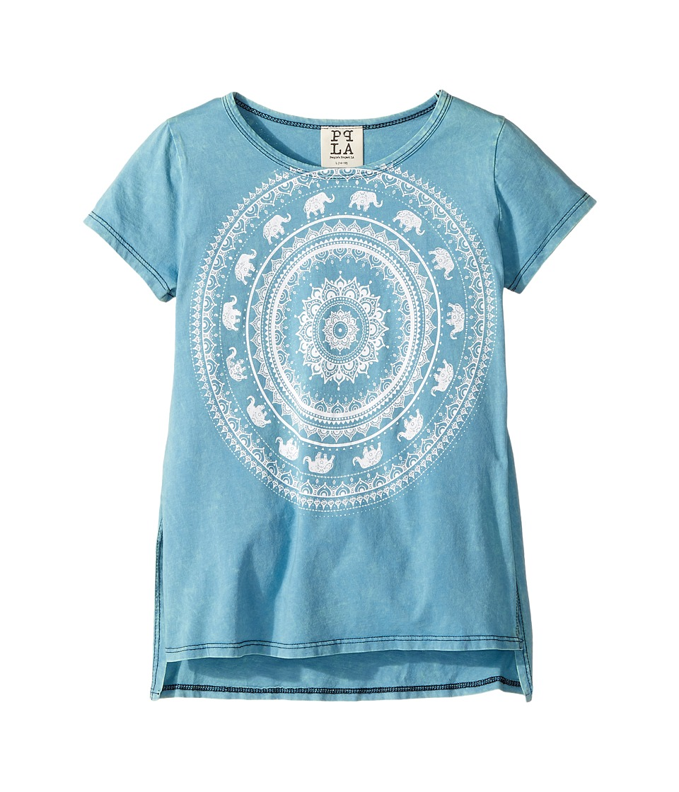 People's Project LA Kids - Elephant Scoop Neck Screen Tee (Big Kids) (Teal Wash) Girl's T Shirt