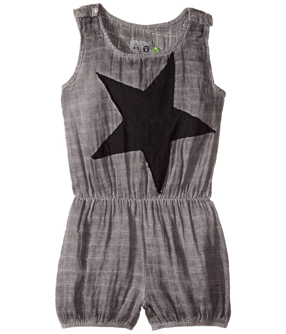 Nununu - Star Patch Muslin Yoga Overall (Infant/Toddler/Little Kids) (Dyed Grey) Girl's Overalls One Piece