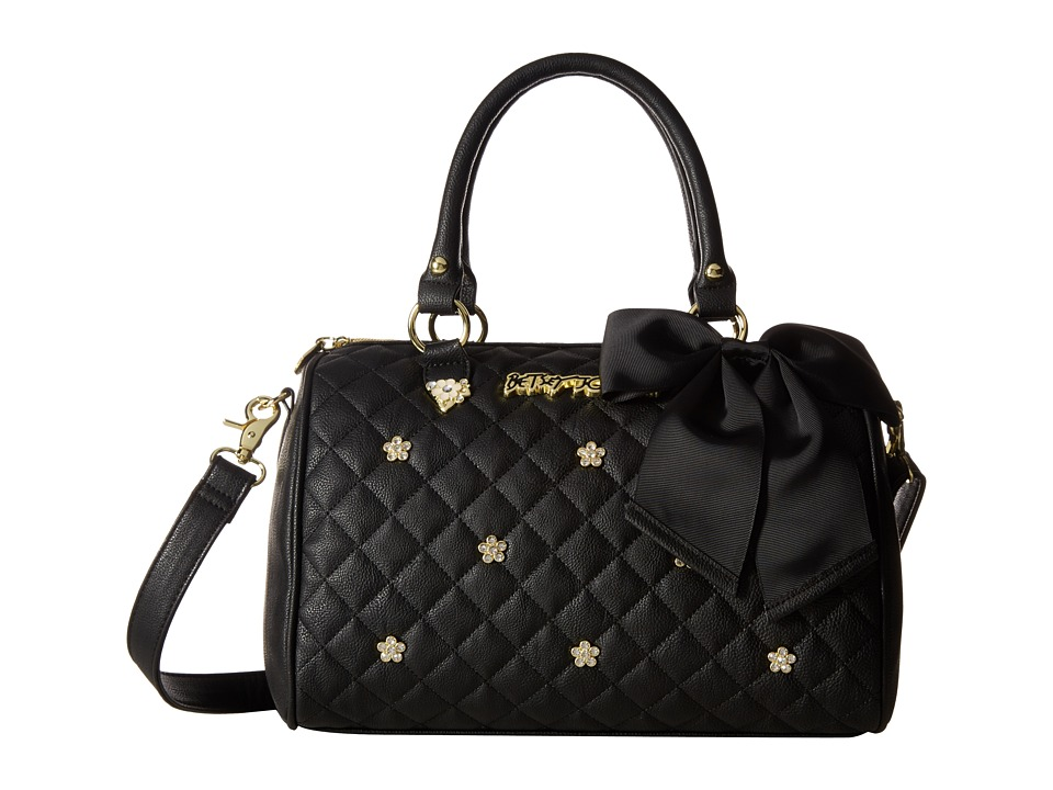 Betsey Johnson - Flower Stone Satchel (Black) Satchel Handbags