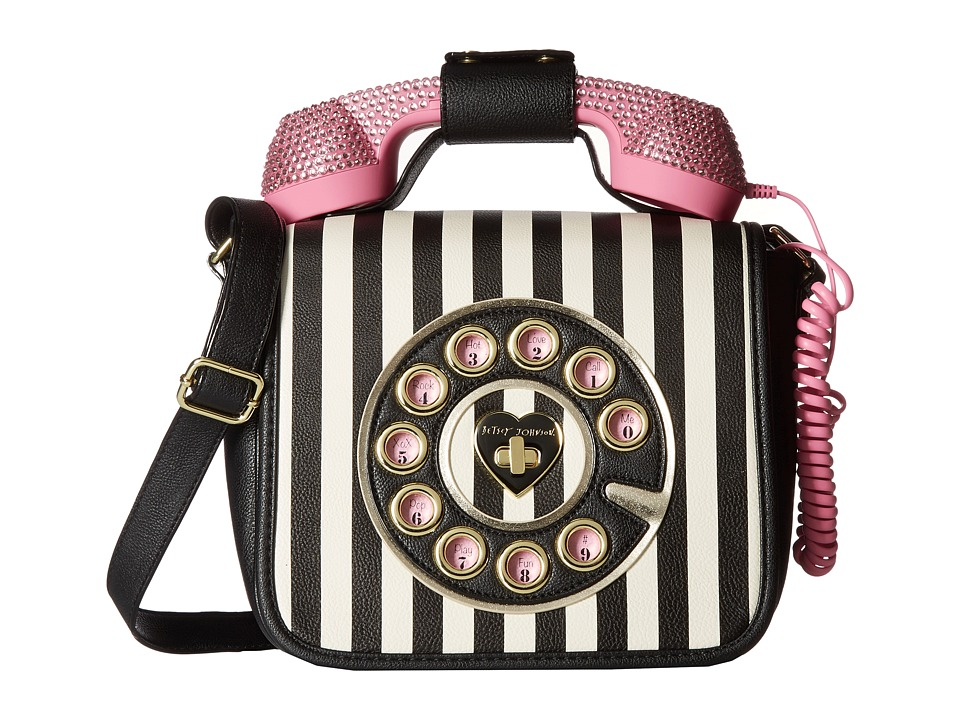 Betsey Johnson - Rhinestones Phone Crossbody (Stripe) Cross Body Handbags