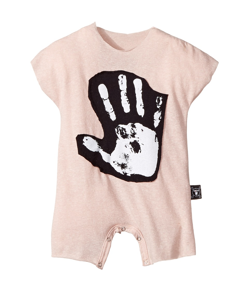 Nununu - Hand Print Kimono Bodysuit (Infant) (Powder Pink) Kid's Jumpsuit & Rompers One Piece