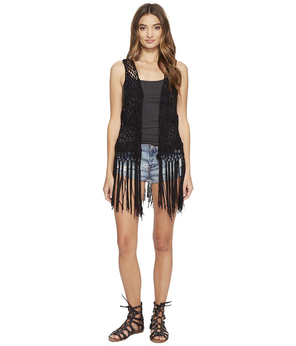 Steve Madden - Crochet Clover Vest (Black) Women's Vest