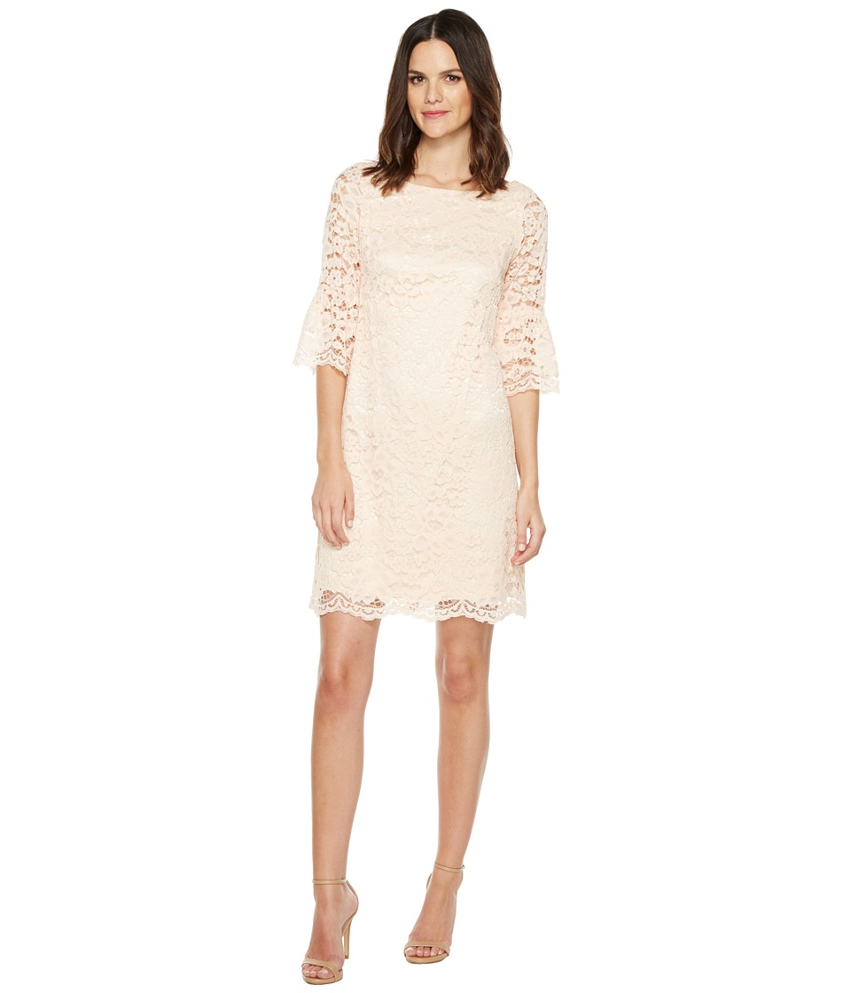 Vince Camuto - Lace Shift Dress with Bell Sleeves (Blush) Women's Dress