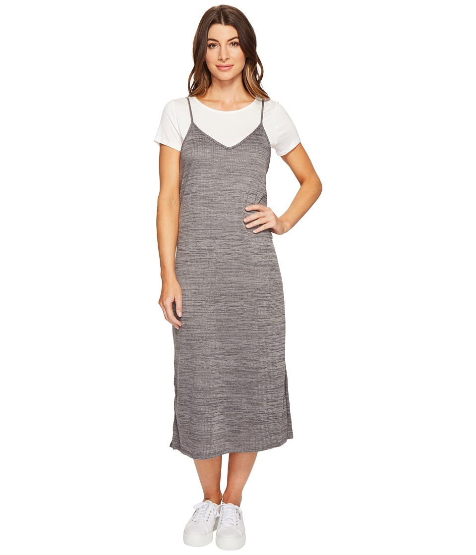 Culture Phit - Alessia Spaghetti Strap T-Shirt Maxi Dress (Ivory/Charcoal) Women's Dress