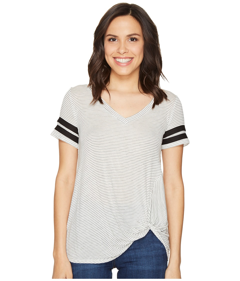 Culture Phit Keely Short Sleeve Striped Top (Ivory/Black) Women