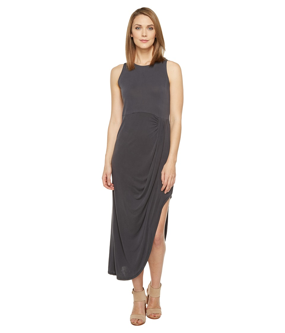 Culture Phit Caressa Sleeveless Ruched Maxi Dress (Dusty Black) Women