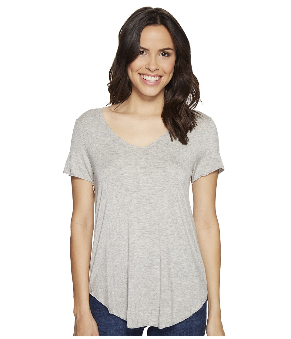 Culture Phit - Flynn V-Neck Short Sleeve Top (Heather Grey) Women's Clothing