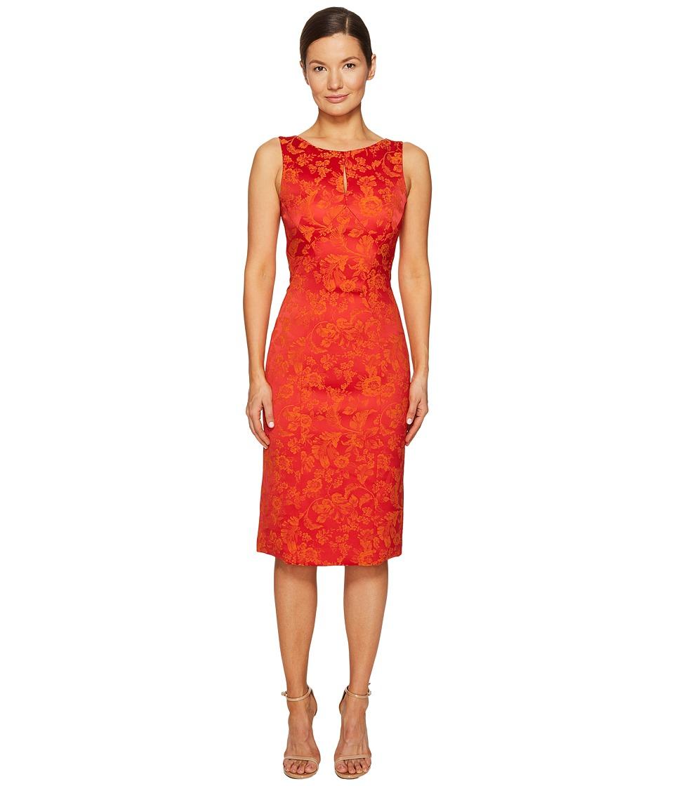 Zac Posen - Party Jacquard Sleeveless Dress (Coral/Orange) Women's Dress