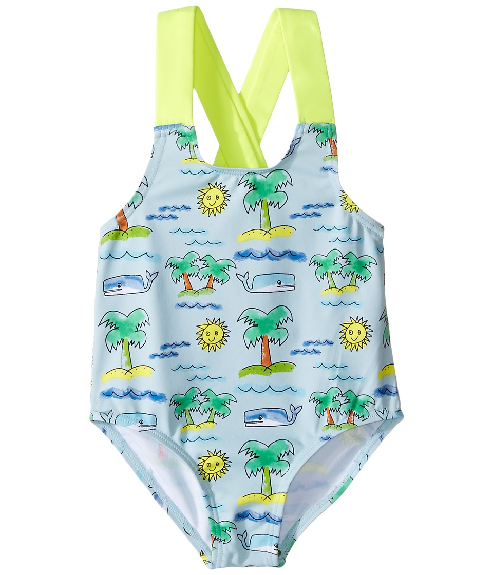 Stella McCartney Kids - Sunnee Fluro Beach Print Swimsuit (Infant/Toddler) (Blue) Girl's Swimsuits One Piece
