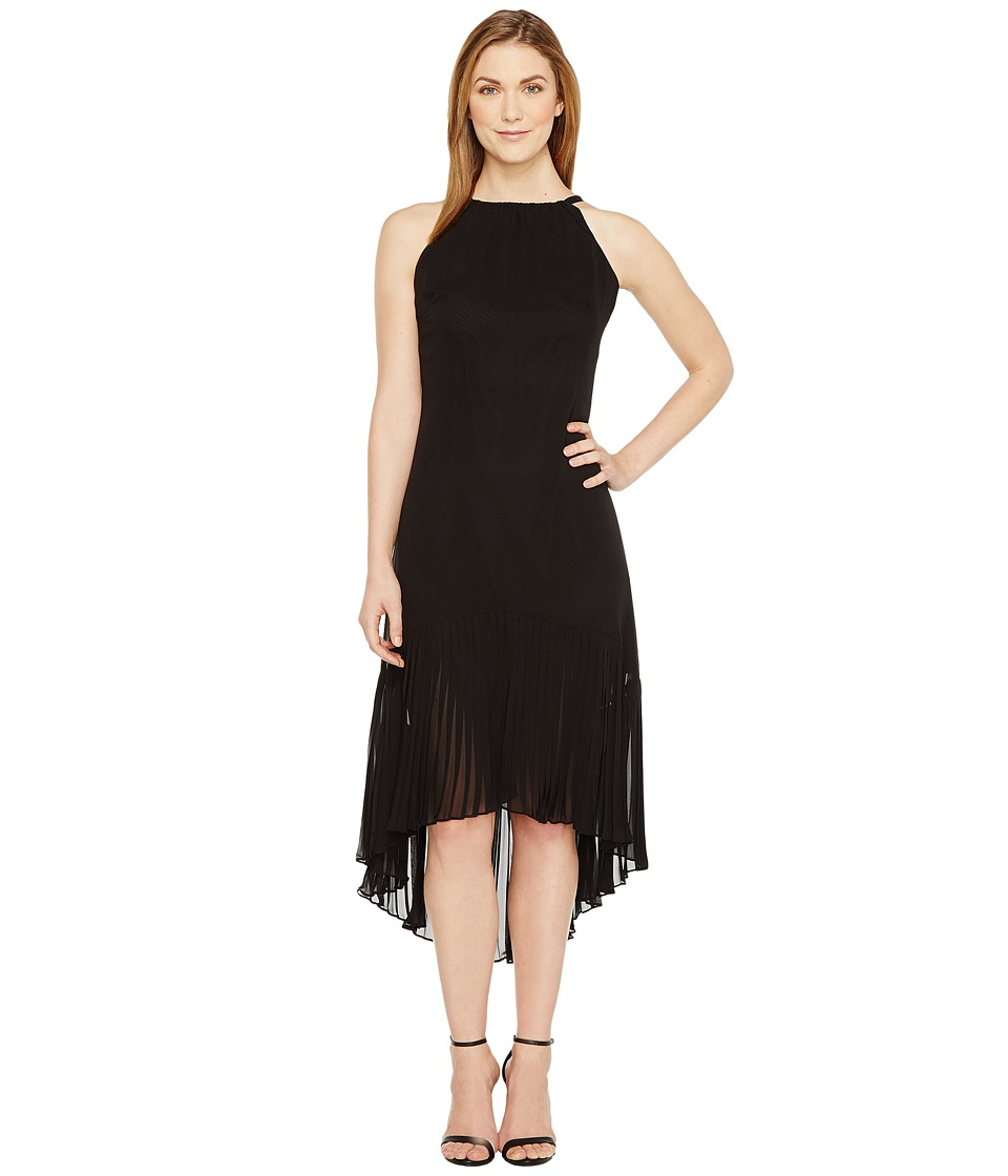 Vince Camuto - Chiffon Halter Pleated Dress (Black) Women's Dress
