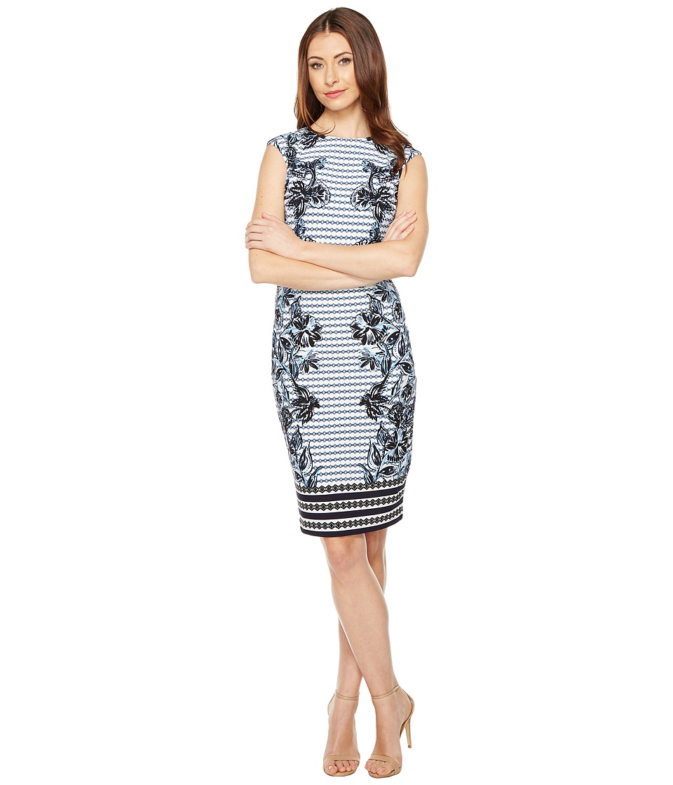 Vince Camuto - Printed Extended Cap Sleeve Bodycon (Blue Multi) Women's Dress