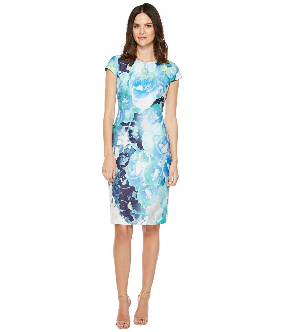 Vince Camuto - Printed Scuba Cap Sleeve Bodycon (Blue) Women's Dress