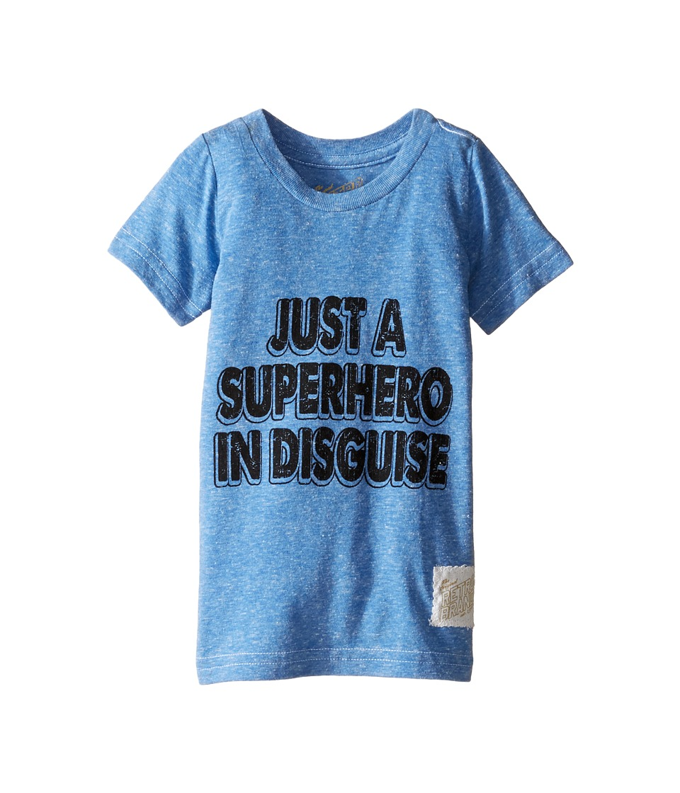 The Original Retro Brand Kids - Superhero In Disguise Short Sleeve Tri-Blend Tee (Toddler) (Streaky Royal) Boy's T Shirt