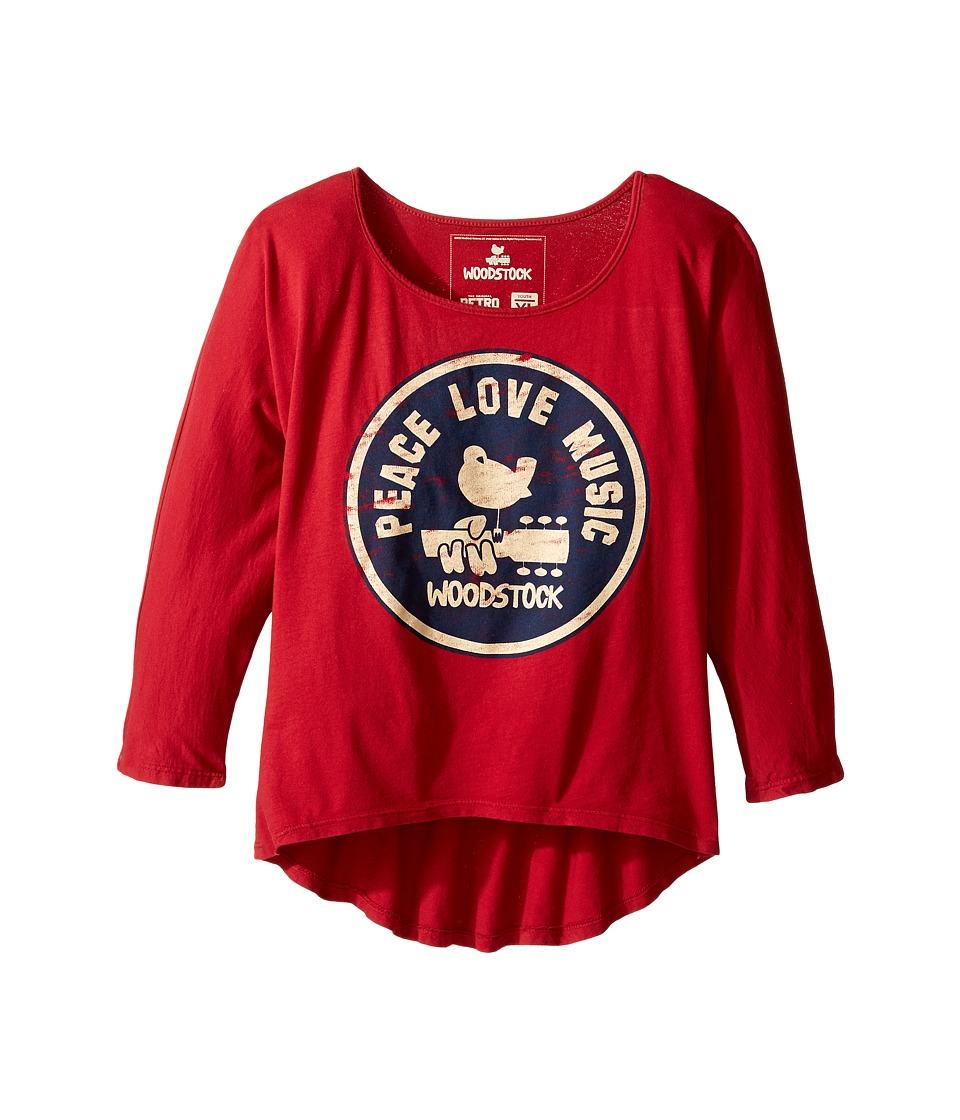 The Original Retro Brand Kids - Woodstock/Peace and Love 3/4 Dolman Tee (Big Kids) (Dark Red) Girl's T Shirt