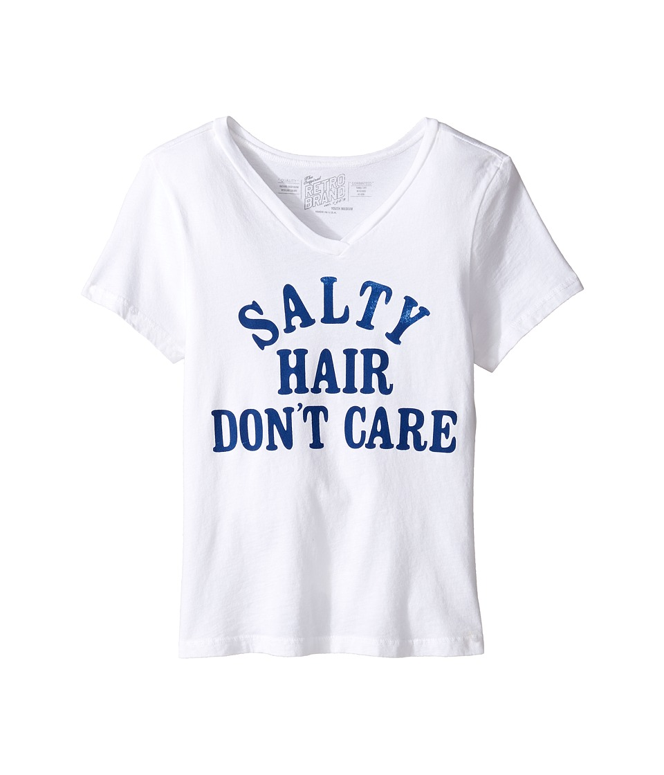 The Original Retro Brand Kids - Salty Hair Don't Care V-Neck Tee (Big Kids) (White) Girl's T Shirt