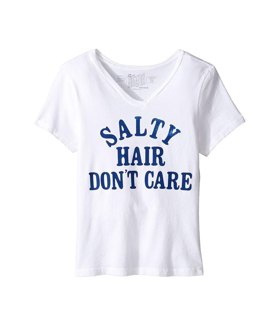 The Original Retro Brand Kids - Salty Hair Don't Care V-Neck Tee (Big Kids) (White) Girl's T Shirt