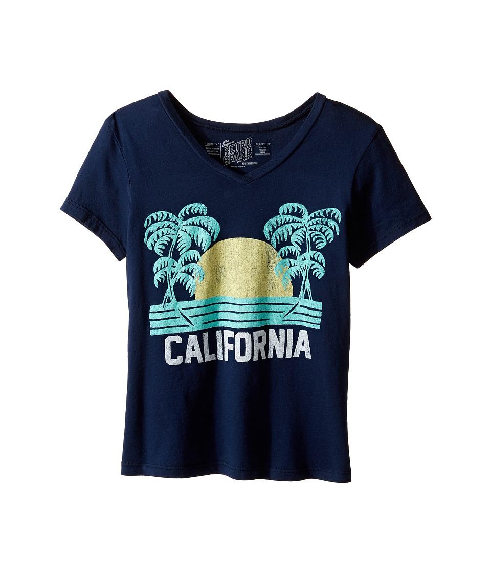 The Original Retro Brand Kids - California Short Sleeve V-Neck Tee (Big Kids) (Navy) Girl's T Shirt