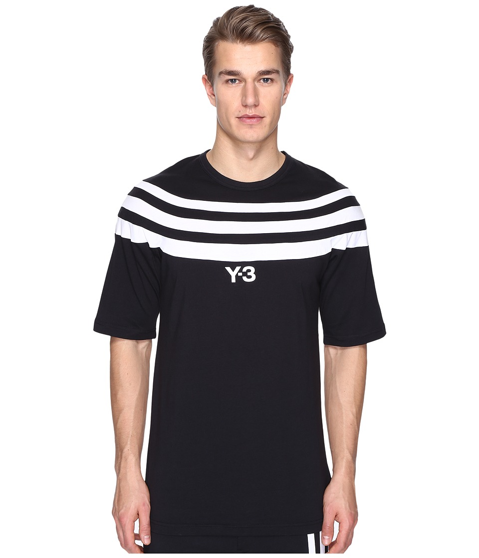 adidas Y-3 by Yohji Yamamoto - M 3 Stripe Short Sleeve Tee (Black) Men's T Shirt