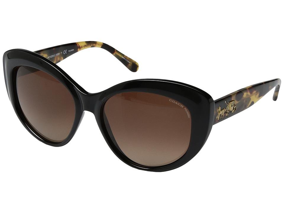 COACH - 0HC8206 55mm (Dark Vintage Tortoise/Brown Gradient Polarized) Fashion Sunglasses