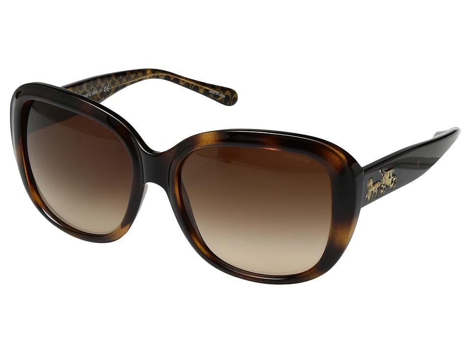 COACH - 0HC8207 57mm (Dark Tortoise Gold Signature C/Smoke Gradient) Fashion Sunglasses