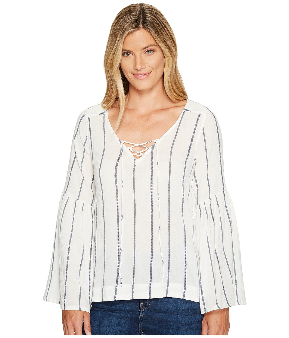 Sanctuary - Lila Lace-Up Top (Luna Stripe) Women's Long Sleeve Pullover