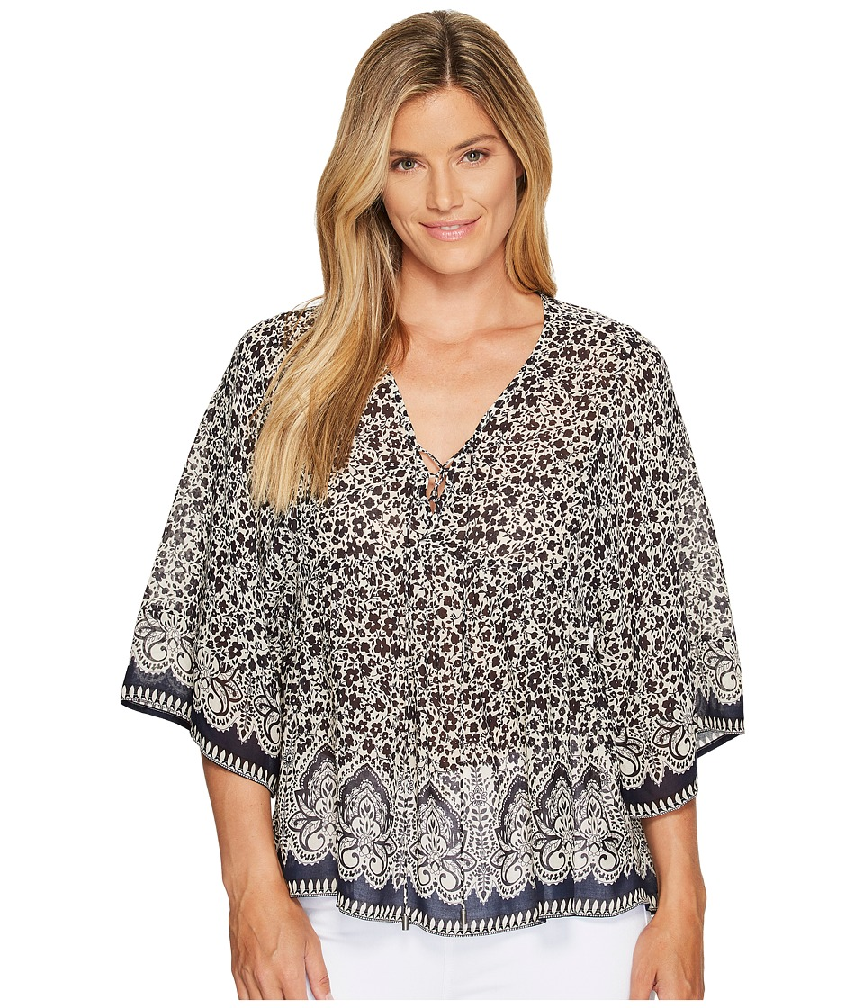 Sanctuary - Lace-Up Top (Folk Floral) Women's Short Sleeve Pullover