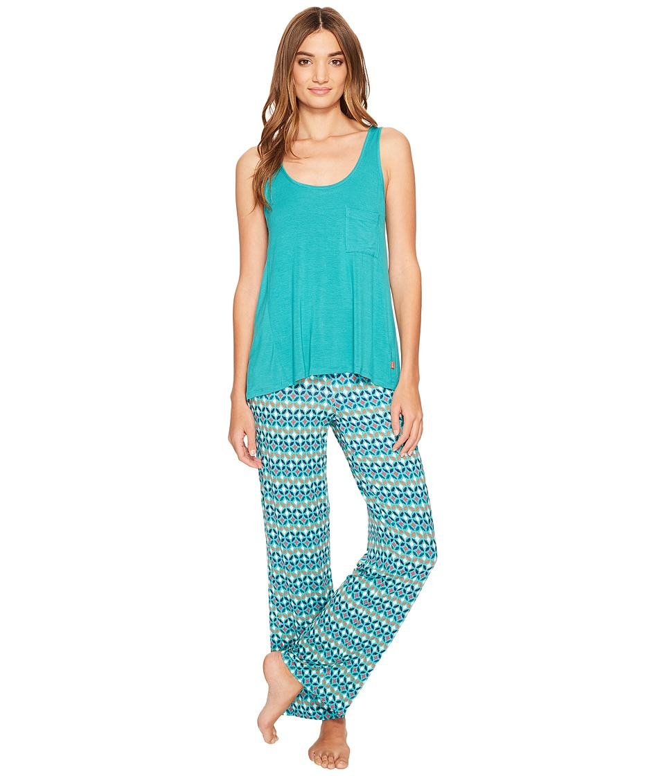 Josie - Mesmerized Tank Pants PJ (Teal/Blue) Women's Pajama Sets