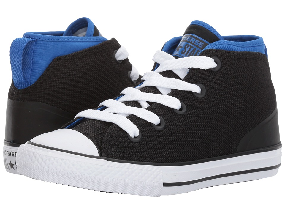 Converse Kids - Chuck Taylor All Star Syde Street Mid (Little Kid) (Black/Laser Blue/White) Kids Shoes