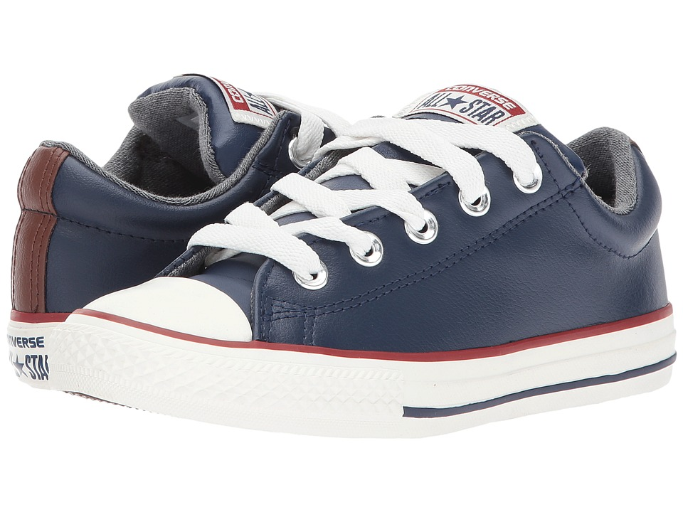 Converse Kids Chuck Taylor All Star Street Leather and Fleece Slip (Little Kid/Big) (Midnight Navy/Terra Red/Egret) Boys Shoes