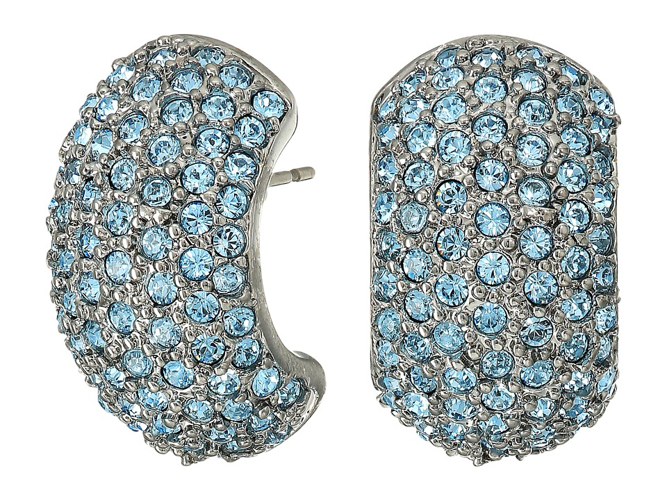 Nina - Pave Half Hoop Earrings (Black Rhodium/Aquamarine Swarovski) Earring