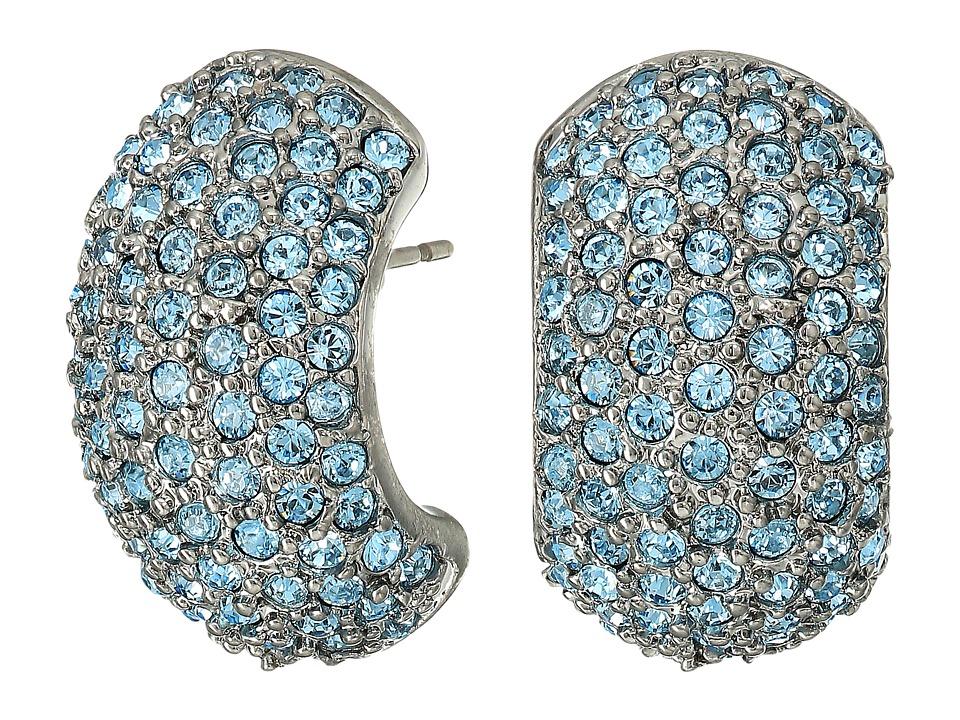 Nina - Pave Half Hoop Earrings (Black Rhodium/Aquamarine Swarovski) Earring