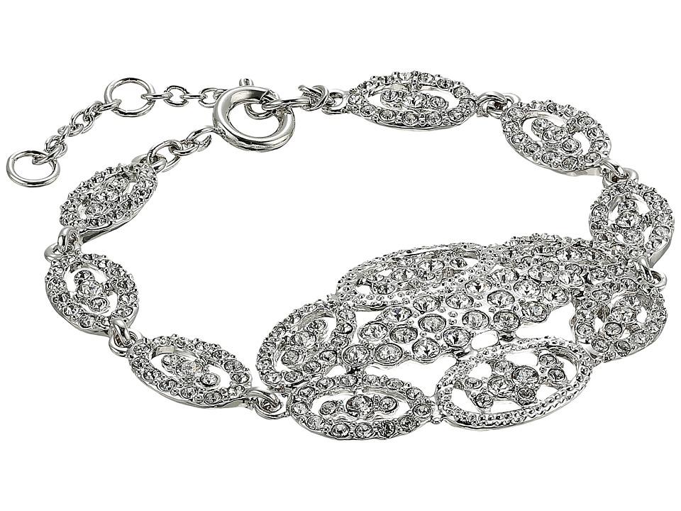 Nina - Vintage Style Pave Link Bracelet w/ Large Center Oval Cluster (Rhodium/White Swarovski) Bracelet