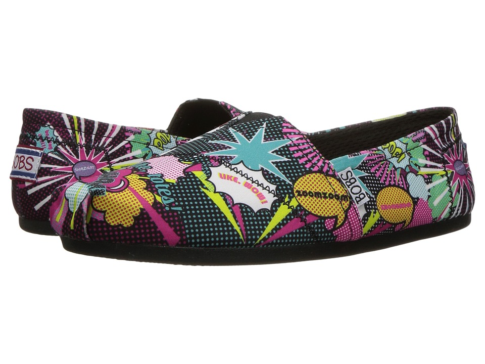 BOBS from SKECHERS - Bobs Plush - Page Turner (Black/Multi) Women's Flat Shoes