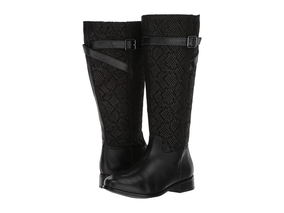 Trotters Lyra Wide Calf (Black Embossed Snake/Leather) Women