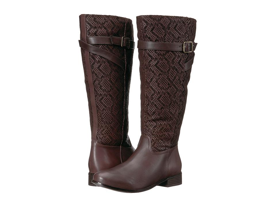 Trotters Lyra Wide Calf (Dark Brown Embossed Snake/Leather) Women