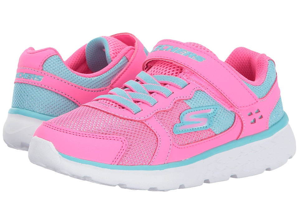 SKECHERS KIDS Go Run 400 (Little Kid/Big Kid) (Neon Pink/Aqua) Girl