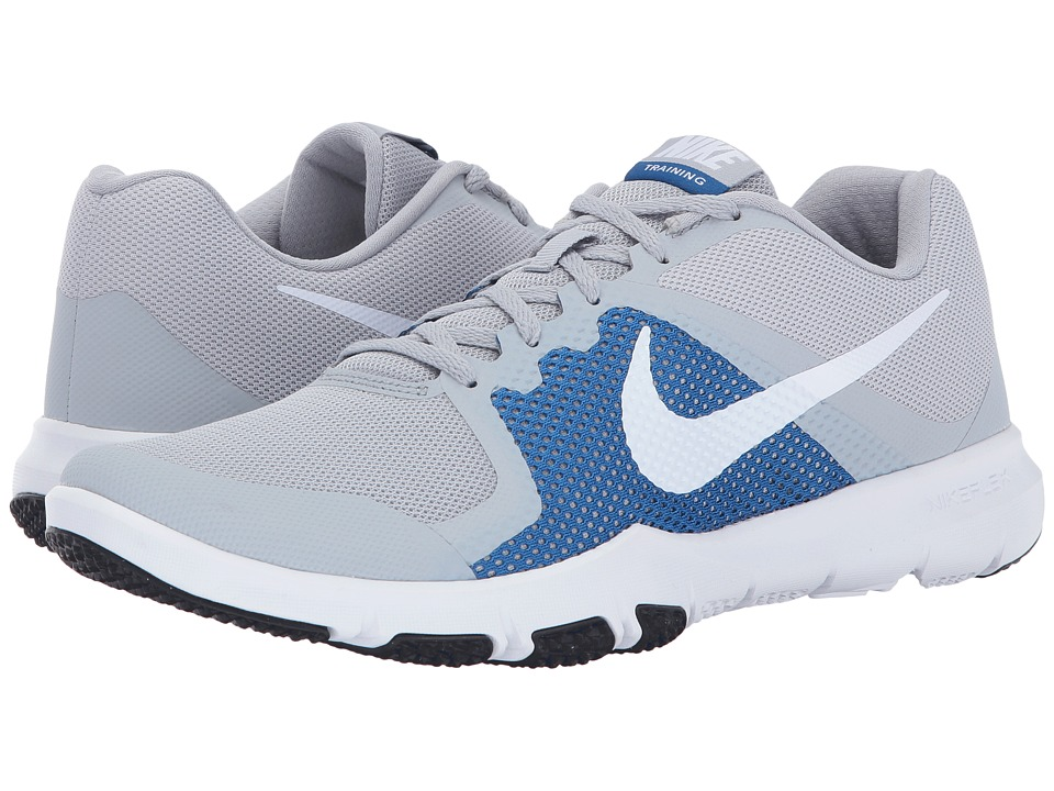 Nike - Flex Control (Wolf Grey/White/Blue Jay) Men's Cross Training Shoes