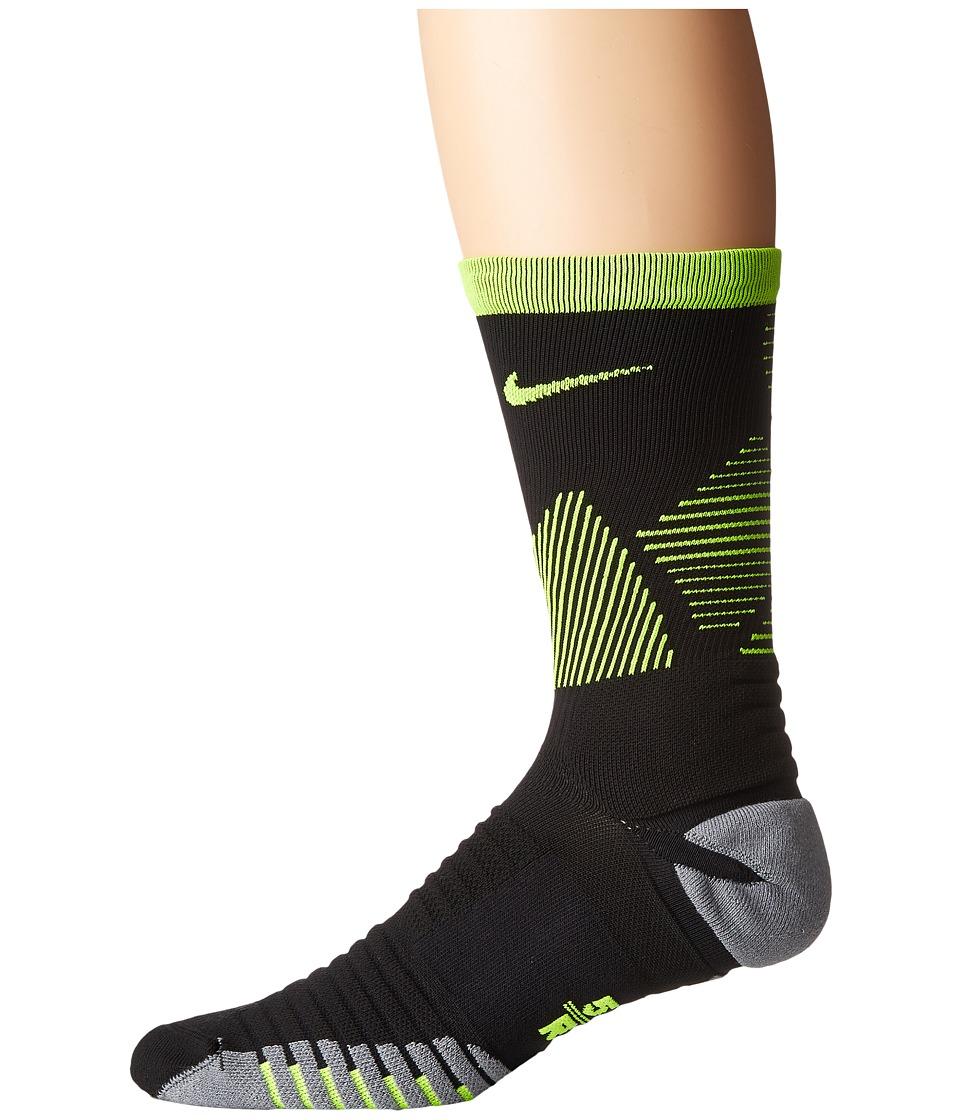 Nike Strike Mercurial Soccer (Black/Volt/Volt) Crew Cut Socks Shoes