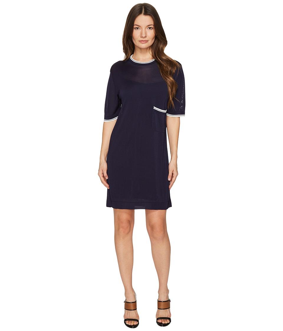 DSQUARED2 - Skin Hibird Short Sleeve Dress (Navy/Blue) Women's Dress