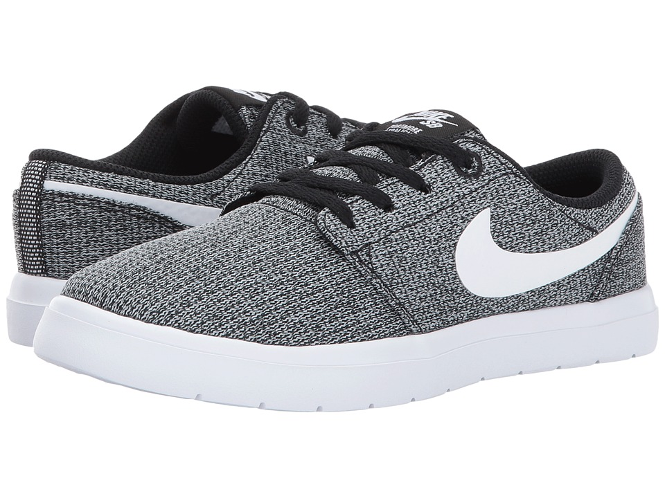 Nike SB Kids - Portmore II Ultralight (Little Kid) (Black/White/Wolf Grey) Boy's Shoes