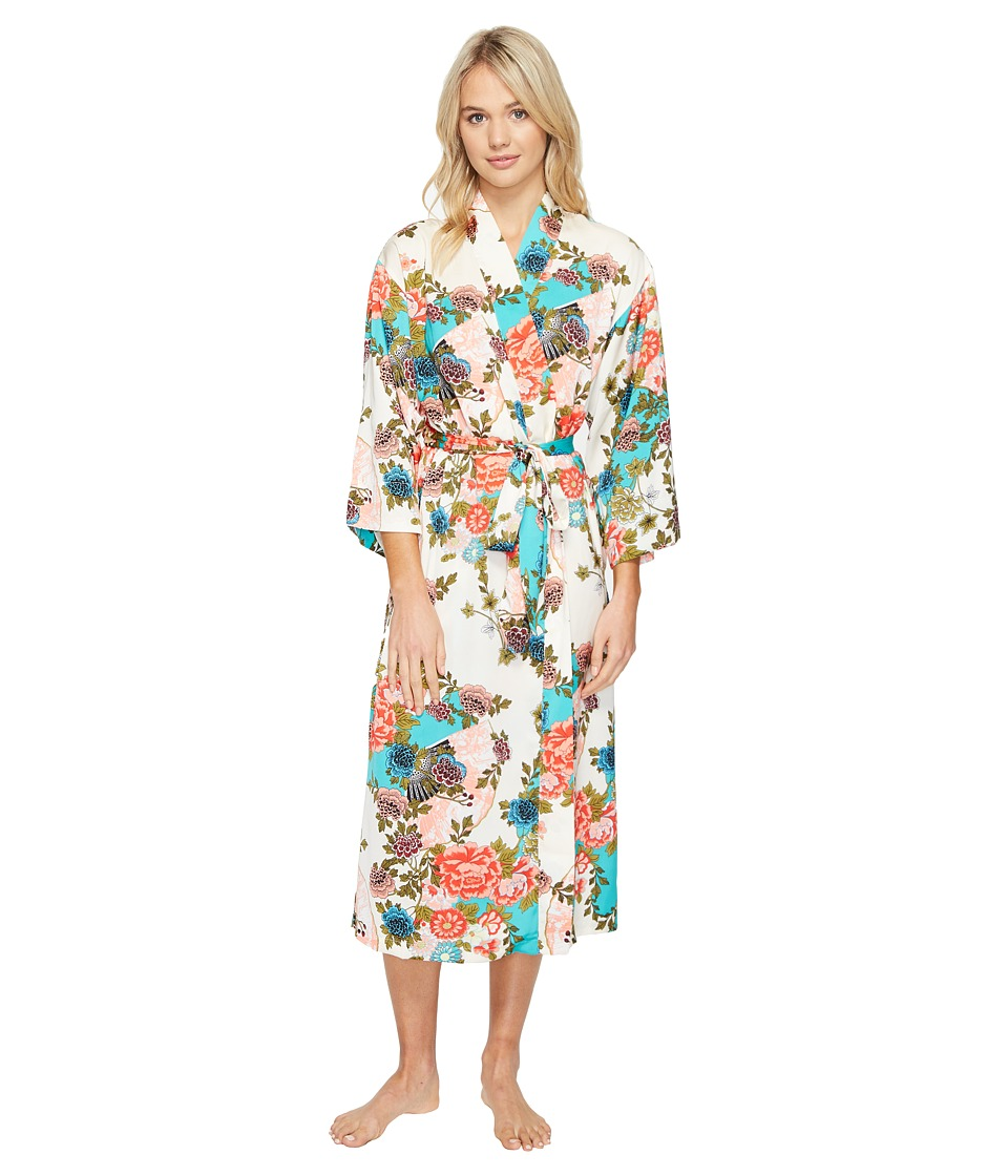 N by Natori - Blossoming Fans Robe (Aquamarine) Women's Pajama