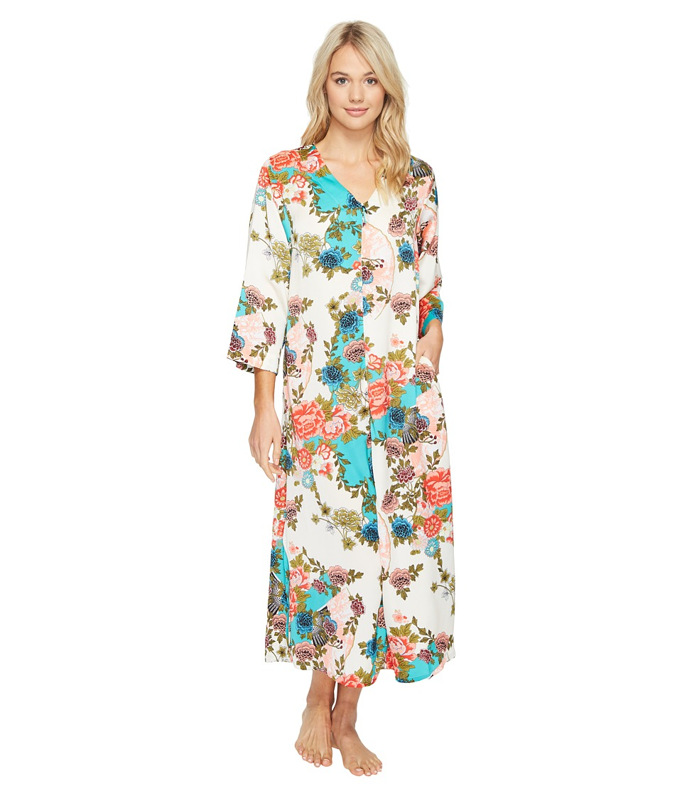 N by Natori - Blossoming Fans Zip Caftan (Aquamarine) Women's Pajama