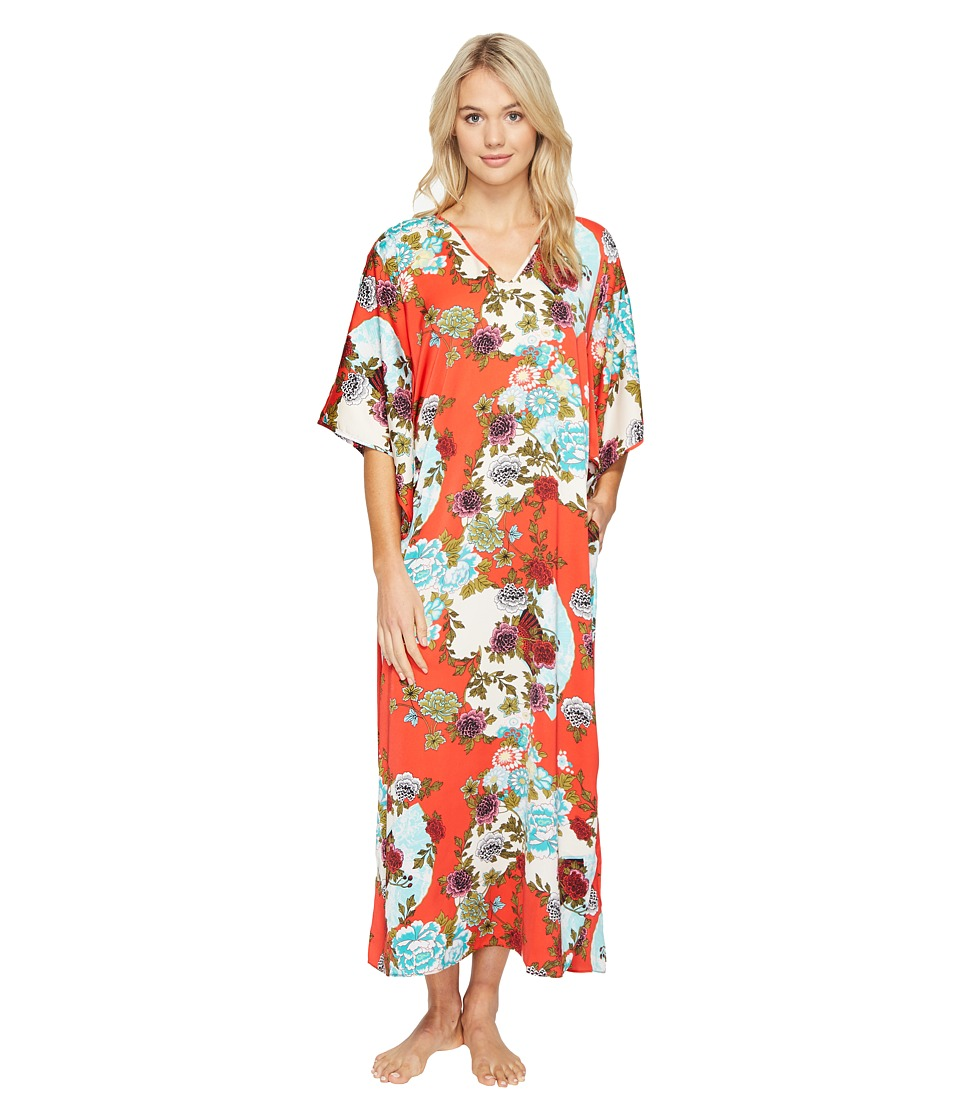 N by Natori - Blossoming Fans Caftan (Red) Women's Pajama