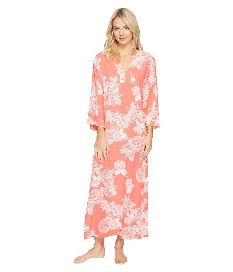 N by Natori - Reign of Flowers Caftan (Coral Peach/White) Women's Pajama