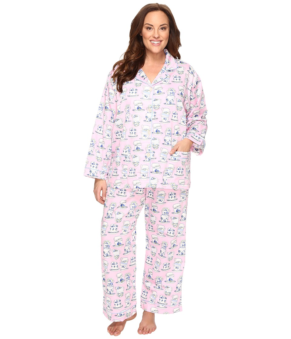 BedHead - Plus Size Long Sleeve Front Pocket Pajama Set (Rose Cuppa Tea) Women's Pajama Sets
